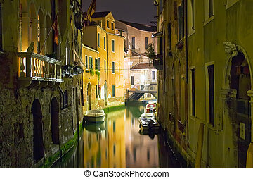 Venice at night - View of a canal in Venice during night