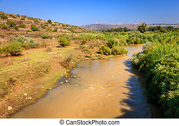 The Jordan River - View of the Jordan River in the north of...