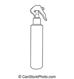 spray bottle out line vector