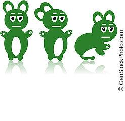 Three green rabbits - Vector image