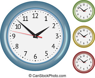 Set of wall mechanical clocks Vector illustration