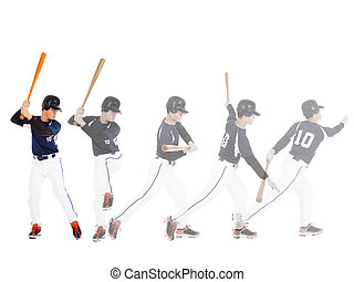 Baseball player from ready to hitting  ball , all movements