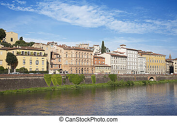 Arno River and waterfront buildings, Florence. Tuscany,...