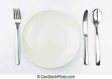 Empty plate with fork, knife and spoon