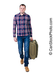 front view of walking man with suitcase. brunette guy in...