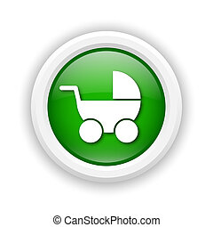 Baby carriage icon - Round plastic icon with white design on...