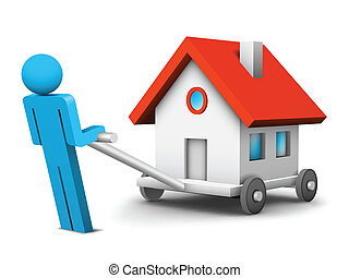 Business concept - Businessman is moving his house