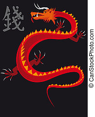 Chinese dragon - The Chinese dragon with a hieroglyph riches...