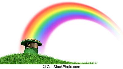 Leprechaun, sombrero, con, oro, en, Un, herboso, colina