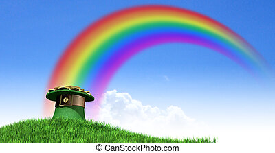 Leprechaun Hat With Gold On A Grassy Hill - A green...