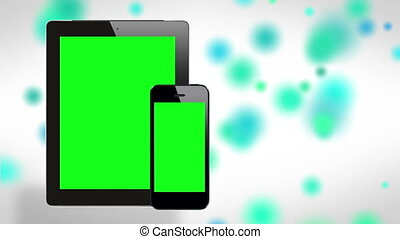 Tablet & smartphone on cool bg - Still and easily...