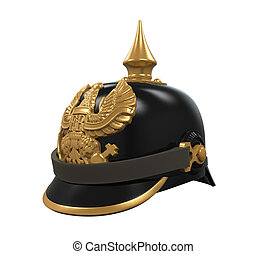 Old German Helm isolated on white background. 3D render