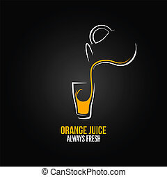 orange juice glass bottle menu design background