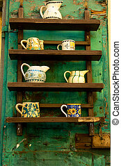 Rustic ceramics display - Rustic display of pottery for sale...