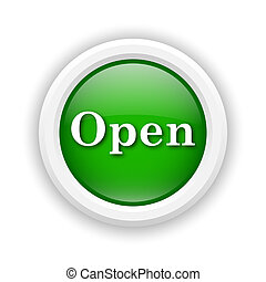 Open icon - Round plastic icon with white design on green...