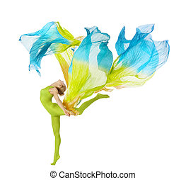 sport woman dancing with flying fluttering colorful fabric....