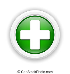 Medical cross icon - Round plastic icon with white design on...