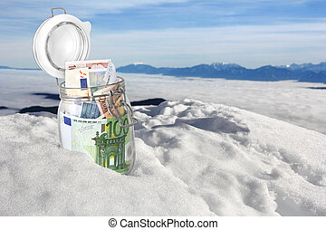 Euro banknotes in the snow