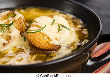 French onion soup with ingredients - French onion soup
