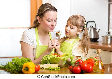 cozinha, legumes, alimentação, criança, mãe