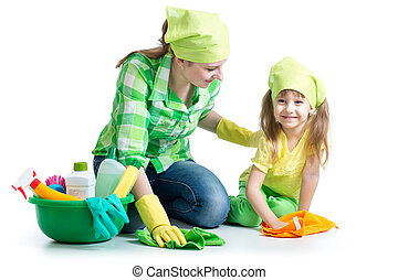 joven, ama de casa, madre, ella, niño, deberes,...