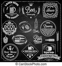 cerveza, Conjunto, pizarra, elementos