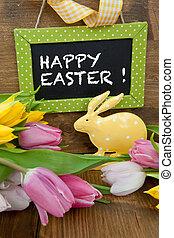 Tulips, poco, pasqua, coniglietto, colorito