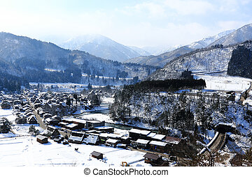 Viewpoint at Gassho-zukuri Village, Shirakawago, Japan -...