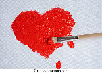 painted red heart - red heart painted with acrylic paint on...