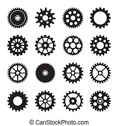 Gear wheel icons set 2 - Gear collection machine of vector...