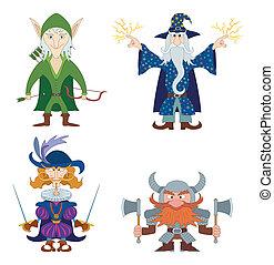 Fantasy heroes, set - Fantasy brave heroes: elf archer,...