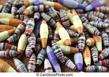 colorful recycled paper beads