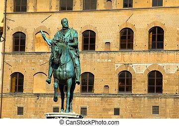 Bronze statue of Cosimo I de Medici, in Piazza della...