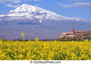 Ararat in Armenia with sacred Khor Virap monastery near...