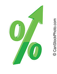 Green percentage symbol with an arrow up.