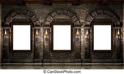 Frames with torches - Wooden frames on stone wall with...