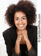 Beautiful friendly African American businesswoman with a...