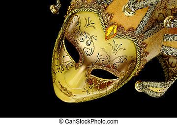 Vintage venetian carnival mask on black background