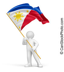 Man and Philippine flag - Man and Philippine flag. Image...