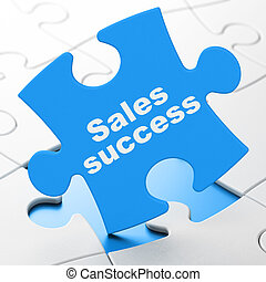 Marketing concept: Sales Success on puzzle background -...