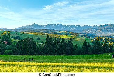 Summer morning mountain village view Poland - Summer morning...