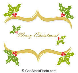 Christmas holly border decoration Vector greeting card...