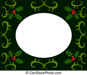 Holly berry Christmas frame