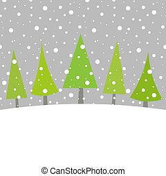 Christmas trees in winter scenery