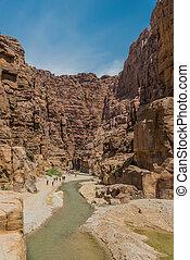 canyon wadi mujib jordan - Wadi Mujib, Jordan - May 9, 2013:...