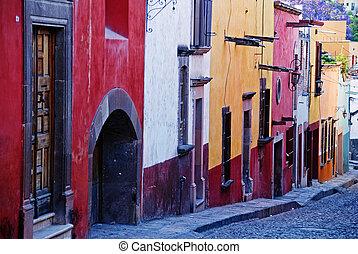 Cobblestone streets, San Miguel de Allende, Mexico -...