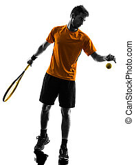 man tennis player at service serving silhouette - one man...