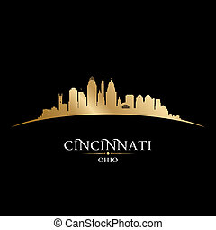 Cincinnati Ohio city silhouette black background -...