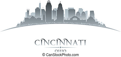 Cincinnati Ohio city silhouette white background -...