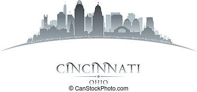 Cincinnati Ohio city silhouette white background -...